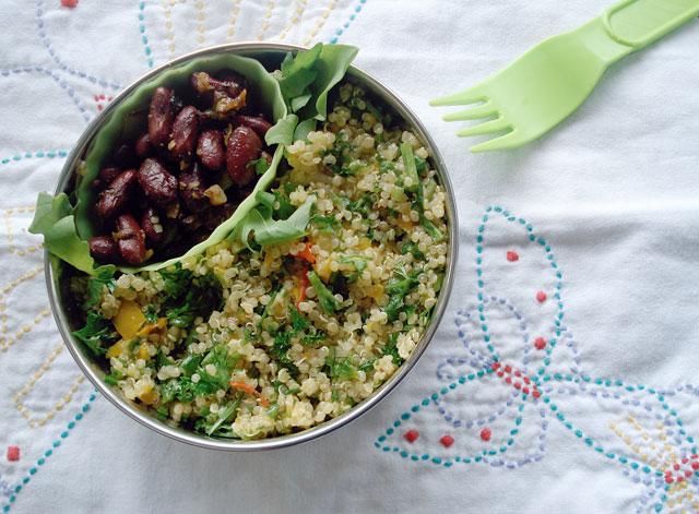 Bento no. 50: Vegan bento with quinoa salad and curried kidney beans